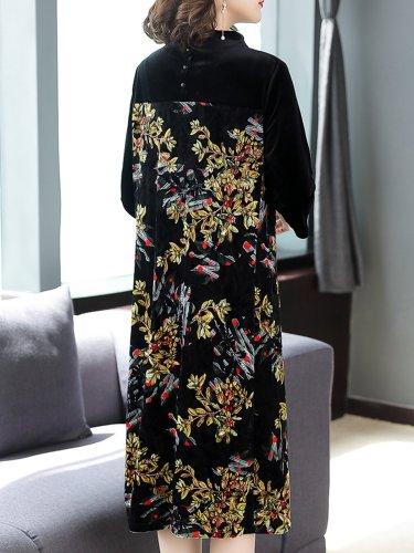 Elegant Floral Paneled Slit Midi Dress