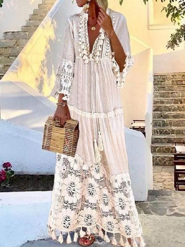 Women Bohemian Deep V Lace Fringe Maxi Dresses