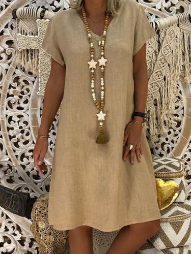 Vintage V neck Woman Plain Shift Dresses