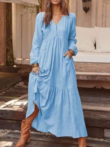 Casual Fastener Long sleeve V neck Big Hem Maxi Dresses