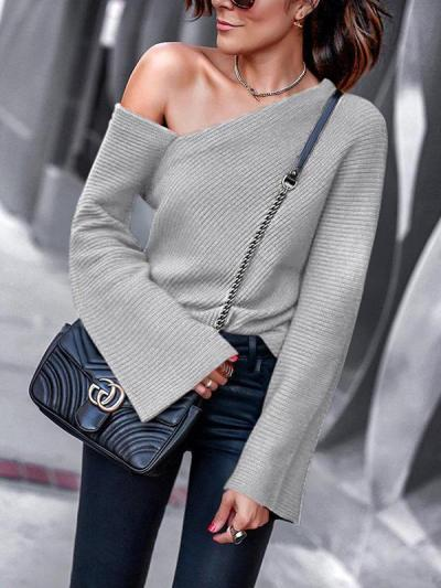 Fashion Sexy Woman One Shoulder Spring Sweater