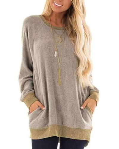 Casual Round neck Pocket Long sleeve Sweatshirts