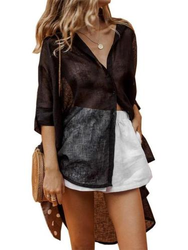 Casual Loose Pure V neck Irrgular Three quarter sleeve Blouses