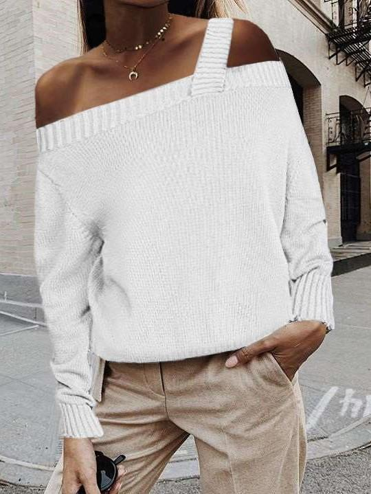 Fashion Pure Knit Off shoulder Vest Long sleeve Sweaters