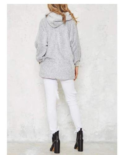 Fashion Loose Plush Long sleeve Hoodies Coats