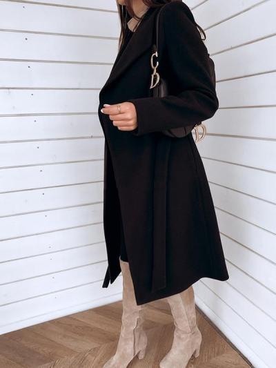 Big lapel plain long Trench coats