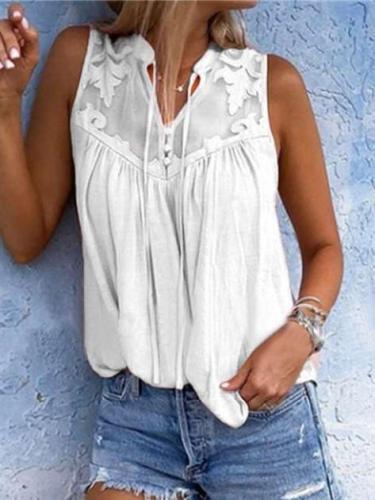 Embroider Gored V neck Sleeveless T-Shirts