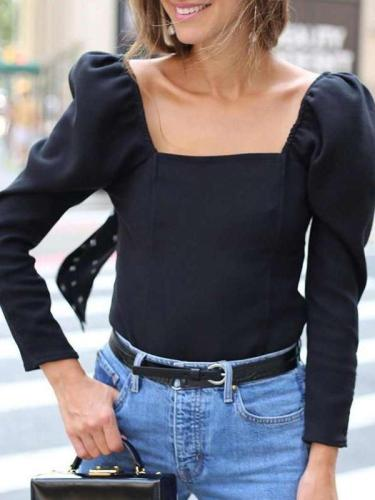 Pure Square collar Long sleeve T-Shirts