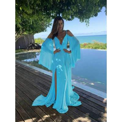 Fashion Pure Off shoulder Vest Long sleeve Maxi Dresses