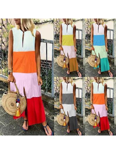 Women Stylish Printed V neck Sleeveless Maxi Dresses