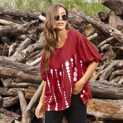 Loose Casual Print Round neck Gored Short sleeve T-Shirts