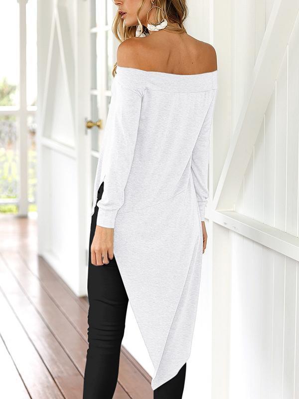 Fashion Off Shoulder Plain Color Long-sleeved Shirt with Irregular Hem
