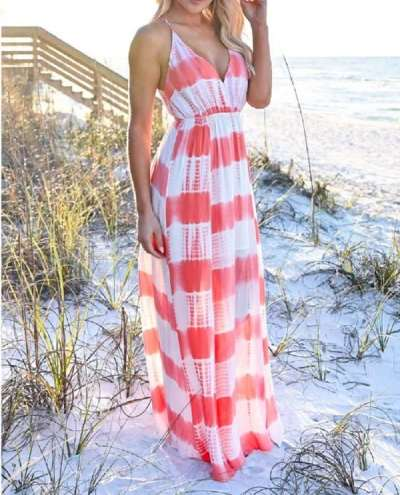 Fashion Print V neck Sleeveless Vest Skater Maxi Dresses
