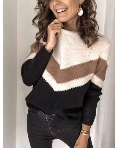 Fashion Stripe Round neck Long sleeve Knit Sweaters