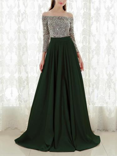 Stylish Off Shoulder Woman Sexy Long Sleeve Maxi Evening Dresses