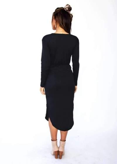 Fashion Long sleeve Lacing Vent V neck Skater Dresses