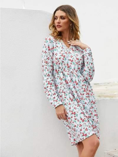 Fashion Loose Print Long sleeve V neck Skater Dresses