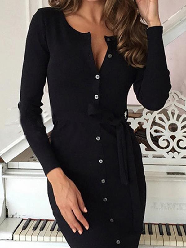 Round neck, long sleeve slim button bodycon dresses