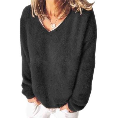 Fashion Casual Pure V neck Long sleeve Plush Sweatshirts