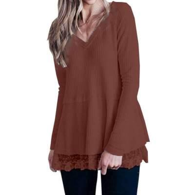 Fashion Lace V neck Long sleeve Knit Sweaters