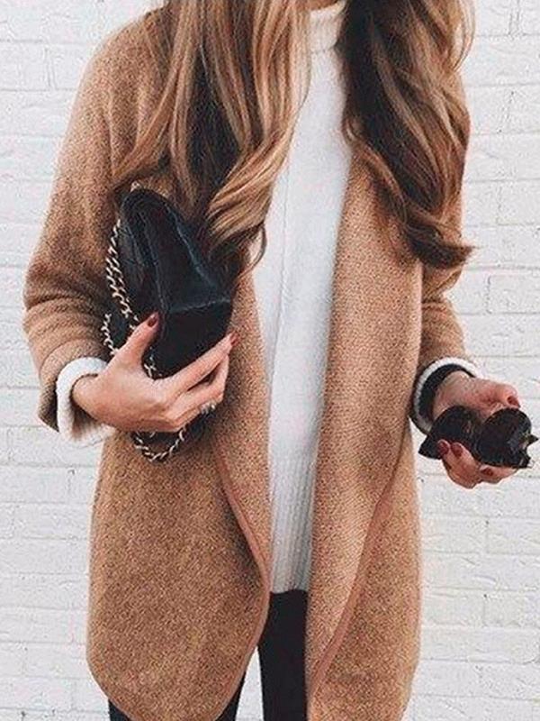 Women big lapel long sleeve plain long coats