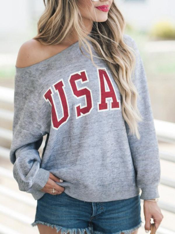 One  Shoulder  Letters  Basic  Sweatshirts