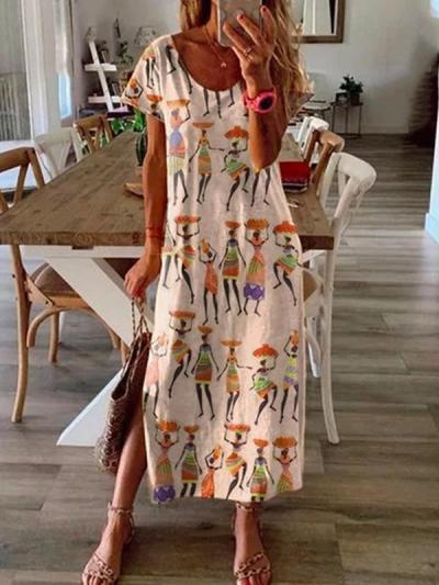 Loose people printed short sleeve long maxi dresses