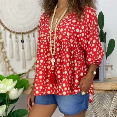 Casual Loose V neck Print Long sleeve T-Shirts