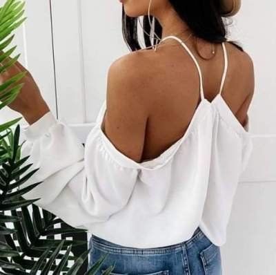 Fashion Casual Print Halter Off shoulder Long sleeve T-Shirts