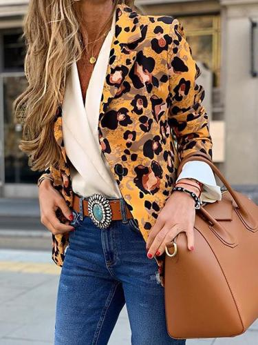 Fashion turn down long sleeve leopard printed blazers