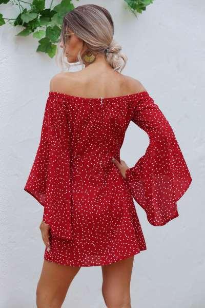 Fashion One shoulder Long sleeve Point print Shift Dresses