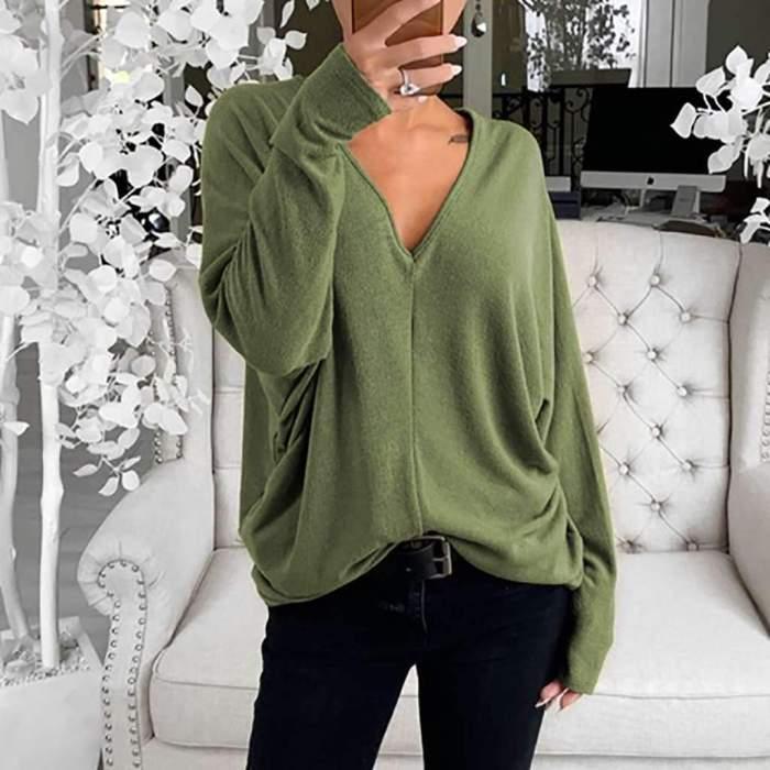 Fashion Casual Pure V neck Long sleeve T-Shirts