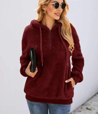 Fashion Pure Zipper Pocket Hairy Hoodies