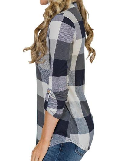 V neck women grid basic long sleeve blouses