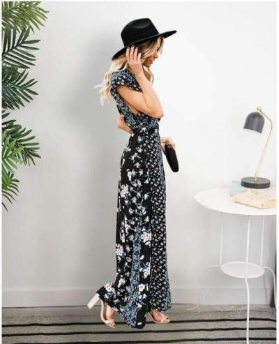 Fashion Casual Print V neck Short sleeve Gored Lacing Maxi Dresses