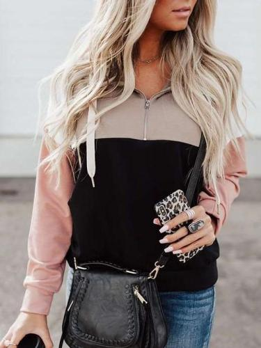 Fashion Gored Lapel Zipper Long sleeve Sweatshirts