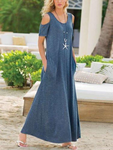 Fashion Casual Round neck Off shoulder Short sleeve Pocket Maxi Dresses