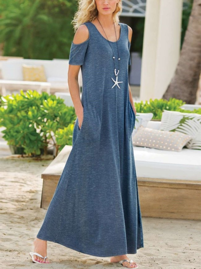 Fashion Casual Round neck Off shoulder Short sleeve Pocket Maxi Dresses