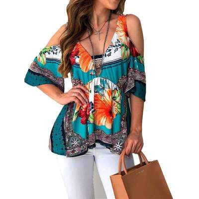 Fashion Casual Print Off shoulder Half sleeve T-Shirts