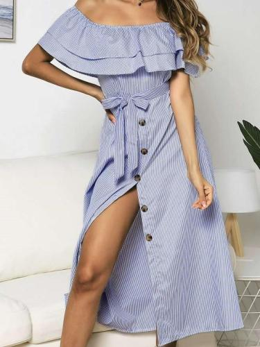 Fashion Stripe Off shoulder  Fastener Maxi Dresses