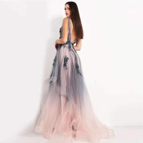 Fashion Sexy Print V neck Sleeveless Skater Evening Dresses