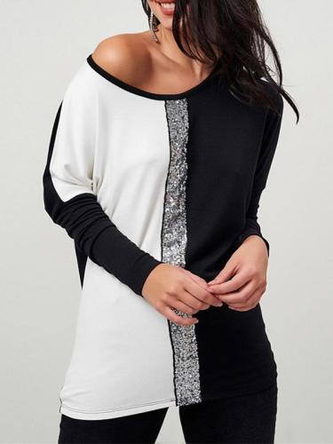 Two-color Long Sleeve Sequins Casual T-shirts