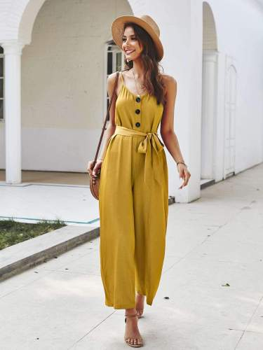 Fashion Loose Vest V neck Lacing Jumpsuits