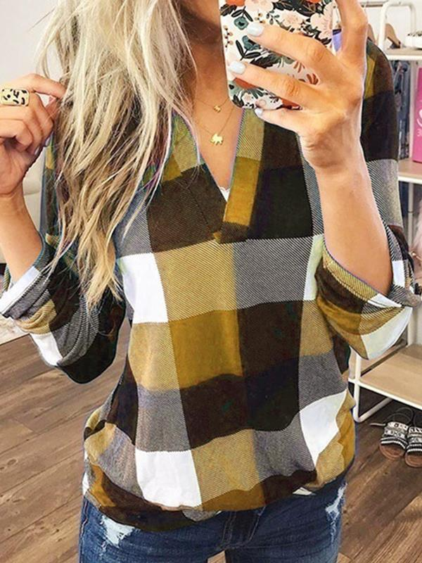 Casual grid women v neck long sleeve blouses