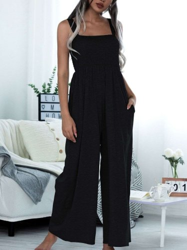Casual Loose Pure Vest Jumpsuits