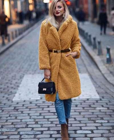 Fashion Plush High collar Long sleeve Coats