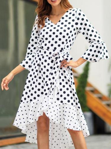 Woman Street Fashion Pot Printed V Neck Maxi Dresses