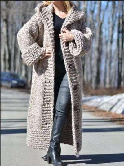 Pure Fashion Knit Hoodies Loose Coat