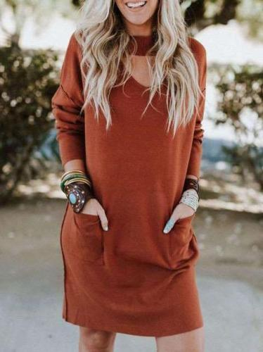 Loose Pure Long sleeve V neck Shift Dresses