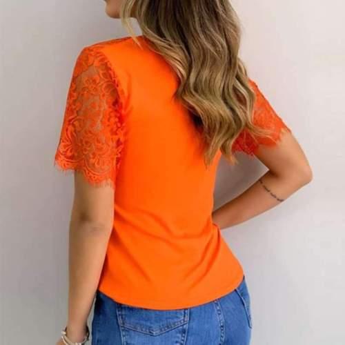 Fashion Lace Short sleeve V neck Pure T-Shirts